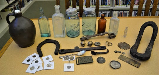 Shown here are just a few of the items the Wilsons have uncovered with their metal detector or by digging through 19th century garbage pits.