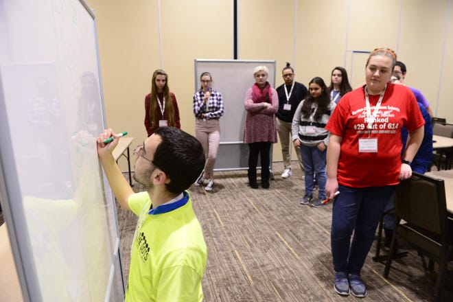 Instructor Vincent Occhiogrosso organizes ideas at the 2018 Back-to-School Code-A-Thon at Terra State Community College. Sandusky County STEM is hosting the Back-to-School Code-A-Thon again this year, in conjunction with We Connect the Dots, from Jan. 24 to Jan. 26 at Terra State.