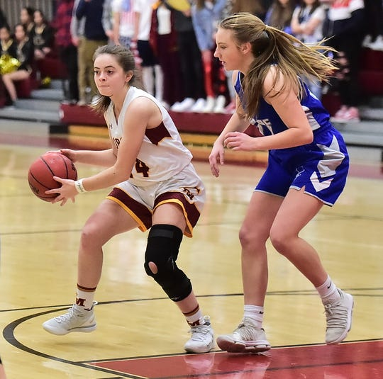 Rocky Mountain High School girls basketball player Haley Roach prepares to pass to a teammate during a win over visiting Poudre on Wednesday, Jan. 8, 2020.