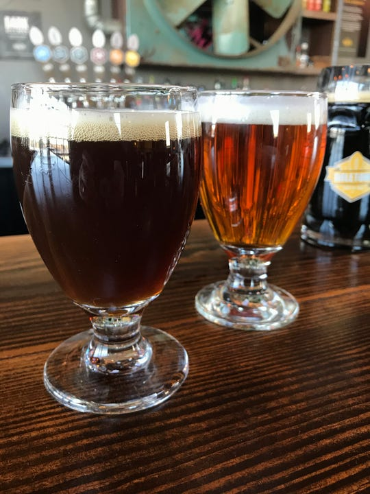 A beer brewed in 2011 (left) and one brewed with a mix of ingredients on hand (right) named Ugly Win, are on tap this weekend at Titletown Brewing.