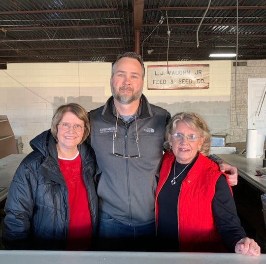 Thomas Wirthlin, developer and general contractor of the planned Warehouse at Vaughn's concept in downtown Simpsonville, poses for a photo inside the space on Thursday, Jan. 9, 2020 alongside Ann Stephens and Betsy Lancaster. The sisters leasing him the space, which was formerly home to the historic Country Store at Vaughn's on Trade Street.