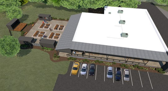 An aerial rendering of the planned Warehouse at Vaughn's development, which is coming to Trade Street in downtown Simpsonville where the Country Store at Vaughn's was.
