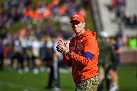 Nov 2, 2019; Clemson, SC, USA; Clemson Tigers defensive coordinator Brent Venables on the field prior to the game against the Wofford Terriers at Clemson Memorial Stadium. Mandatory Credit: Adam Hagy-USA TODAY Sports