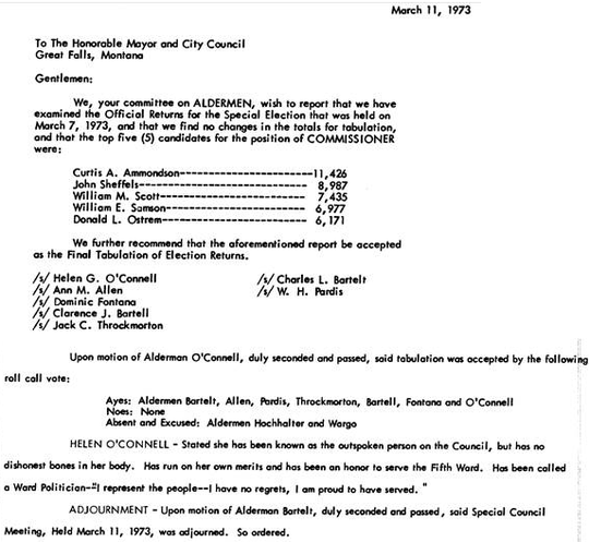 Minutes of a 1973 City Commission meeting show the results of the municipal election, with Curt Ammondson winning the most votes and therefore being named mayor.