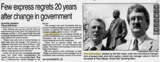 A tribune story in 1993 on the 20-year anniversary of the city adopting the city manager-commission form of government featured a photograph of former Mayor Curt Ammondson and City Manager John Lawton.
