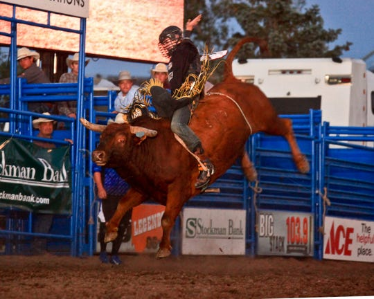 Star bull rider Parker Breding of Edgar competes at a past rodeo in Great Falls. Breding is looking to compete in his first rodeo since injuring his knee at the Calgary Stampede last summer.