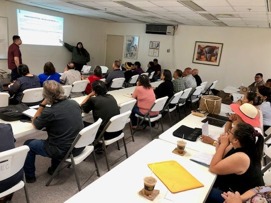 "Some 30 potential candidates for the 2020 elections, or their representatives, show up at the Guam Election Commission's seminar on campaign finance reports and related issues on Thursday, Jan. 9, 2020 in Hagatna. GEC program coordinators Thomas San Agustin and Elizabeth Santos conducted the seminar and answered questions on a host of topics, from nominating petition signatures to the Guam law that basically says ""vote where you live."""