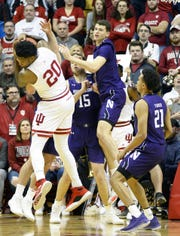 Indiana Hoosiers forward De'Ron Davis (20) rebounds the ball during the game against Northwestern at Simon Skjodt Assembly Hall in Bloomington, Ind., on Wednesday, Jan. 8, 2020.