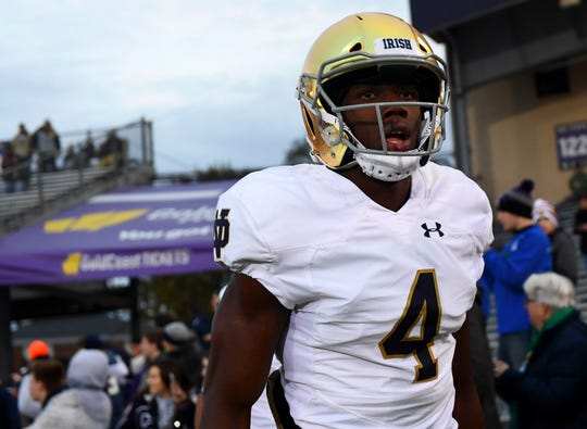 Notre Dame Fighting Irish wide receiver Kevin Austin Jr. (4) takes the field before the game against the Northwestern Wildcats at Ryan Field.
