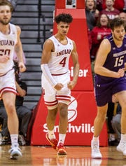 Indiana forward Trayce Jackson-Davis (4) reacts after scoring during the second half of the team's NCAA college basketball game against Northwestern on Wednesday, Jan. 8, 2020, in Bloomington, Ind. Indiana won 66-62. (AP Photo/Doug McSchooler)