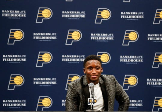 Indiana Pacers guard Victor Oladipo (4) talks with media during a press conference at Bankers Life Fieldhouse, Indianapolis, Wednesday, Jan. 8, 2020.