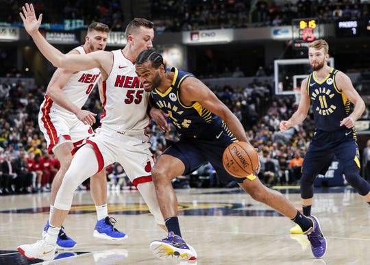 Indiana Pacers forward T.J. Warren (1) rushes forward against Miami Heat forward Duncan Robinson (55) at Bankers Life Fieldhouse, Indianapolis, Wednesday, Jan. 8, 2020.