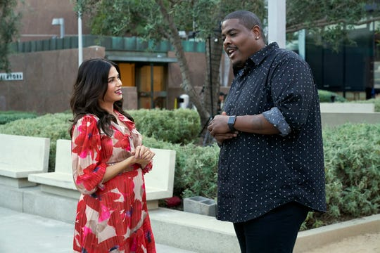 "Octavius Womack talks with host Jenna Dewan after dancing with his first blind date on episode one of FOX's ""Flirty Dancing,"" which aired on Dec. 29, 2019."