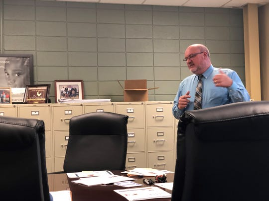 Joe T. Woods, in a support role for TN-CAPS — a career awareness and preparation system that connects businesses with K-12 students — presents the program curriculum, lesson plans and website to educators who work at three of the pilot schools.