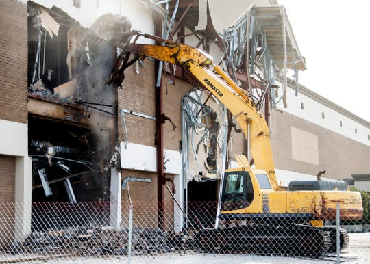 Demolition continues at the former Sears at West Town Mall in Knoxville on Thursday, January 9, 2020.