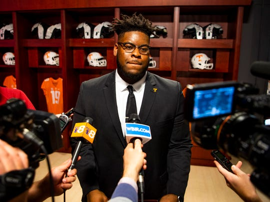 Tennessee offensive lineman Trey Smith speaks to the media after announcing he will return to UT for his senior season on Thursday, January 9, 2020.