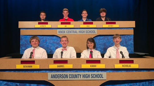 For Central, Kenneth Lin, Joe Brown, Team Captain Cole Cook and Jeffrey Williams. Coach is Judy Sullivan. For Anderson County, Benjamin Yearwood, Gabriel Watson, Team Captain Karah Godfrey (captain) and Nicholas Harshbarger.Coach is Donovan Harrington. Oct. 18, 2019.