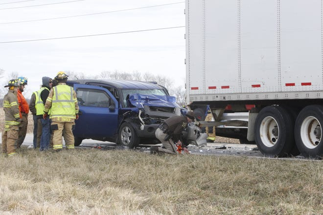 Tippecanoe County Sheriff's Office investigated a crash on County Road 700 West, about a mile south of the Wabash River. The driver of the Honda Element rearended a semi stopped on the county road. That driver was flown by Lifeline helicopter to an Indianapolis hospital, according to the sheriff's office.