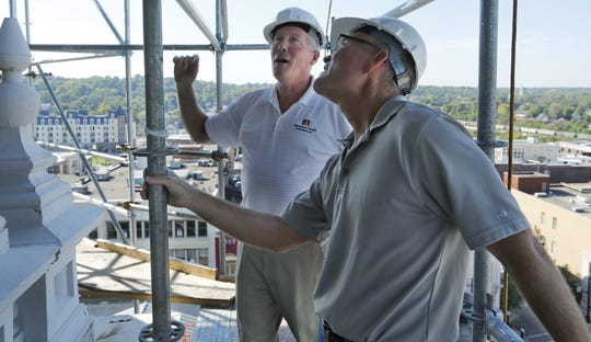 County Commissioners David Byers and Tom Murtaugh look at the exterior of the Tippecanoe County Courthouse dome Tuesday, September 20, 2016, in downtown Lafayette.
