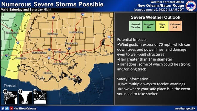 New Orleans is at risk of thunderstorms, strong winds and potential tornadoes on Saturday, Jan. 11, 2020.