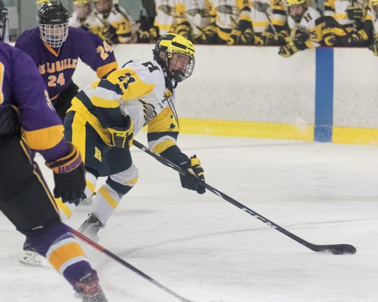 Hartland's Jack Schaecher (21) had two goals and an assist in a 9-4 victory over Warren DeLaSalle on Wednesday, Jan. 8, 2020.