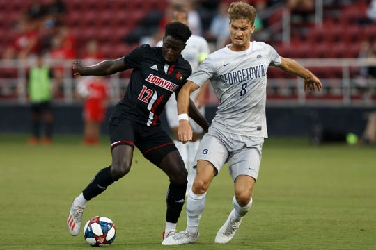 Cherif Dieye defends the ball during the game against Georgetown on September 24.