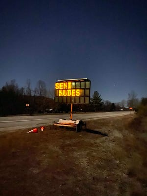 A road sign in Whitley County, Kentucky, was hacked and discovered early Thursday morning with a surprising message.