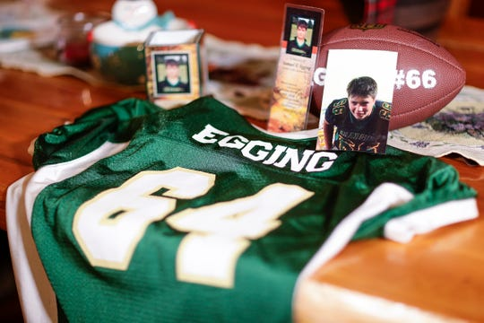 Family keepsakes are shown in the home of Wittenberg-Birnamwood junior football player Sam Egging. Egging died Dec. 19 after being struck by a vehicle.