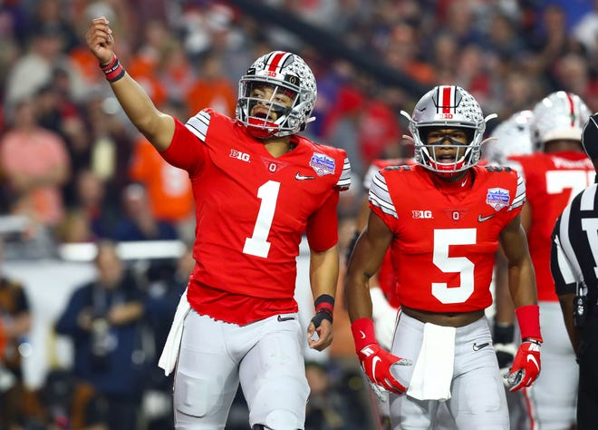 Ohio State quarterback Justin Fields, celebrating a touchdown in the playoffs against Clemson, is considered by many to be the favorite to win the Heisman Trophy next season.