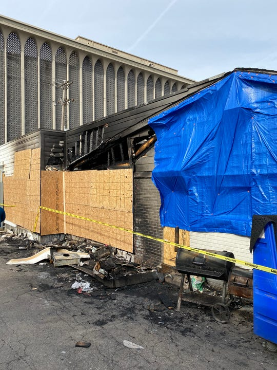 The south side of Hog & Hominy on Jan.9 after a fire ripped through the building overnight.