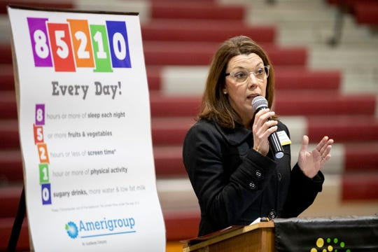 Kiki Hall, Common Table Health Alliance CEO, speaks Thursday, Jan. 9, 2020, at the launch of a healthy living campaign at Craigmont High School in Memphis.