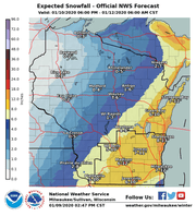 A large portion of southern and eastern Wisconsin is forecast to receive heavy snow this weekend.