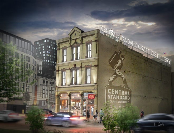 Central Standard Craft Distillery's plans are proceeding to convert a historic downtown building into a tasting room and events venue.
