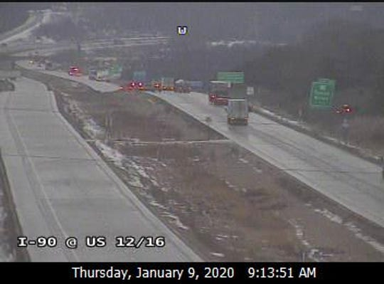 I-90 is closed between Tomah and La Crosse because of icy conditions.