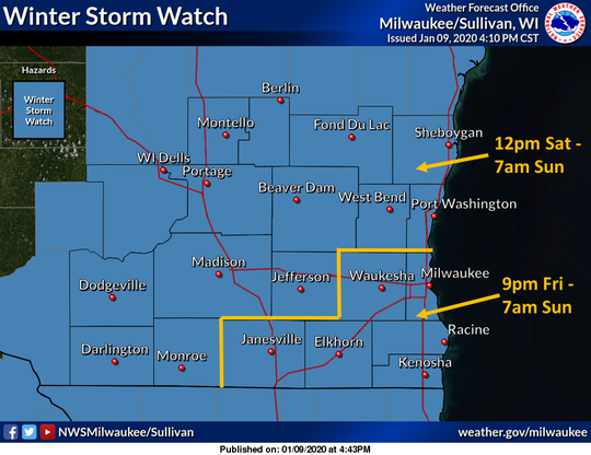 Winter storm watches cover all of southeast Wisconsin beginning Friday and continuing through early Sunday morning.