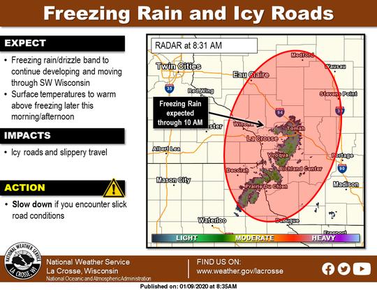 Freezing rain was causing travel problems across southwest Wisconsin on Thursday.