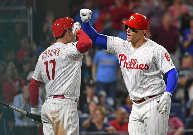 Logan Morrison (right) batted .200 in 29 games for the Phillies last season and spent much of the year in Class AAA with the Phillies and Yankees organizations.