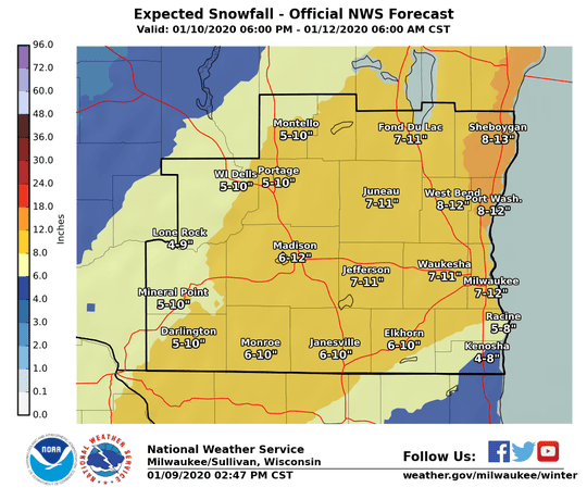 Heavy snow is forecast across southern Wisconsin for the coming weekend.