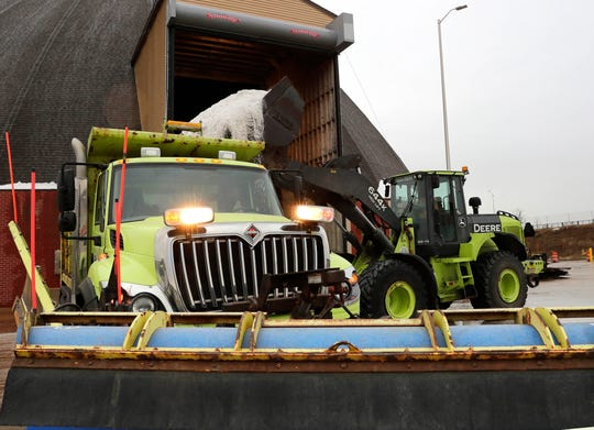 Milwaukee County snow plows are loaded with salt for the over 2,200 freeway and county trunk road miles on Thursday. Much of the fleet, on West Watertown Plank Road near Highway 41/45, is positioned ahead of an approaching winter storm.
