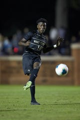 Joey DeZart (14) of the Wake Forest Demon Deacons passes the ball during first half action against the Notre Dame Fighting Irish at W. Dennie Spry Soccer Stadium on October 26, 2019 in Winston-Salem, North Carolina. The Fighting Irish defeated the Demon Deacons 1-0. (Brian Westerholt/Sports On Film)
