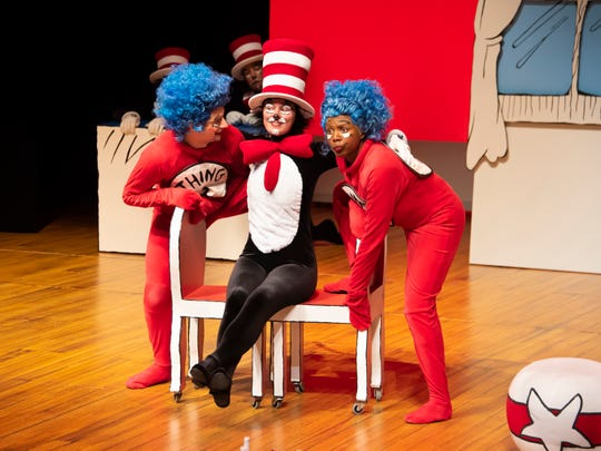 Andrew Greiche, Vivienne Claire Luthin and Kira Player in a scene from Alabama Shakespeare Festival's presentation of Dr. Seuss's The Cat in the Hat, which runs Saturday from January 11–25, 2020.