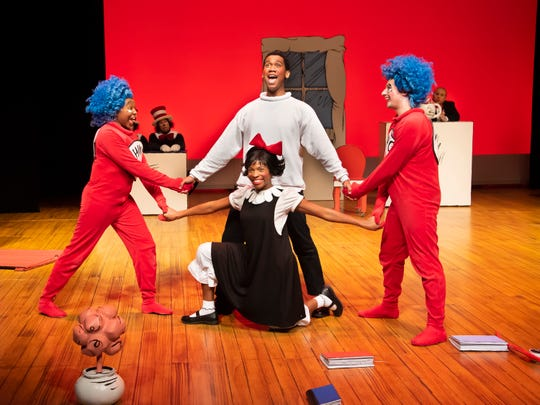 Kira Player, George Lamar, Sania Hyatt and Andrew Greiche in a scene from Alabama Shakespeare Festival's presentation of Dr. Seuss's The Cat in the Hat, which runs Saturday from January 11–25, 2020.
