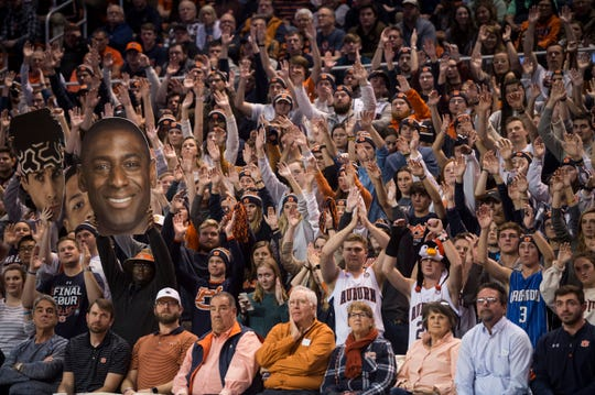 Auburn fans cheer on their team during a game against Vanderbilt at Auburn Arena in Auburn, Ala., on Wednesday, Jan. 8, 2020.