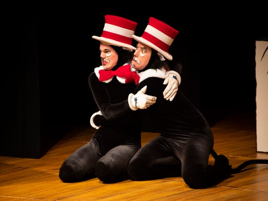 The kittens Matthew Zimmerman and Jeremy Sapadin in a scene from Alabama Shakespeare Festival's presentation of Dr. Seuss's The Cat in the Hat, which runs Saturday from January 11–25, 2020.