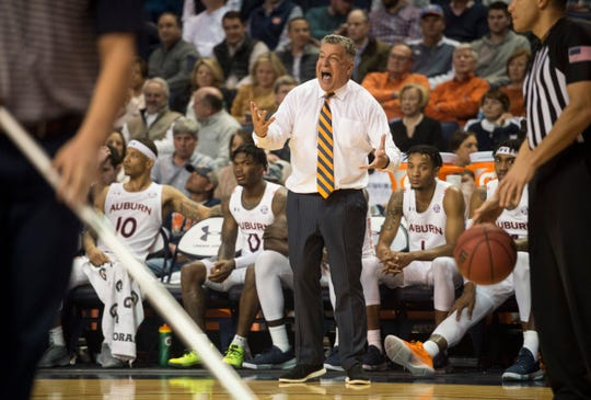 Auburn head coach Bruce Pearl yells from the bench at Auburn Arena in Auburn, Ala., on Wednesday, Jan. 8, 2020. Auburn defeated Vanderbilt 83-79.