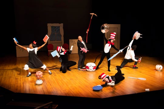 The cast in a scene from Alabama Shakespeare Festival's presentation of Dr. Seuss's The Cat in the Hat, which runs Saturday from January 11–25, 2020.
