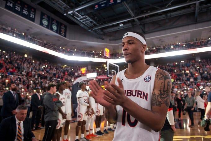 Auburn guard Samir Doughty (10) gets ready to be introduced at Auburn Arena in Auburn, Ala., on Wednesday, Jan. 8, 2020. Auburn leads Vanderbilt 42-38 at halftime.