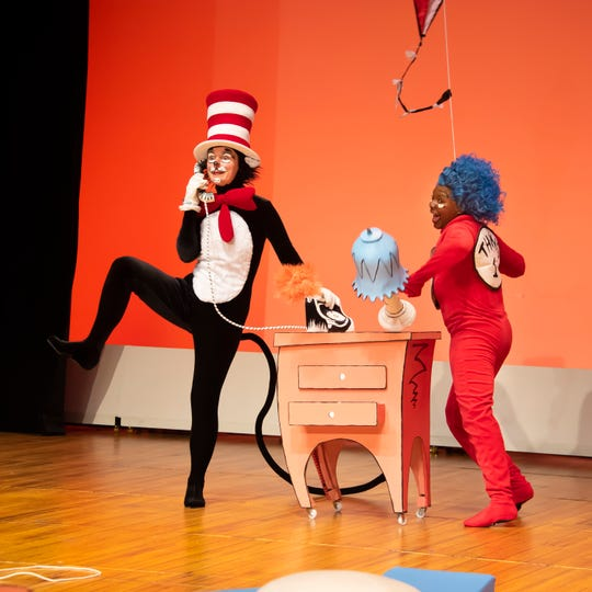 Vivienne Claire Luthin as the Cat in the Hat and Kira Player (Thing 1) in a scene from Alabama Shakespeare Festival's presentation of Dr. Seuss's The Cat in the Hat, which runs Saturday from January 11–25, 2020.