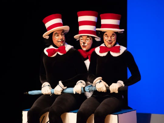 Jeremy Sapadin, Vivienne Claire Luthin and Matthew Zimmerman in a scene from Alabama Shakespeare Festival's presentation of Dr. Seuss's The Cat in the Hat, which runs Saturday from January 11–25, 2020.