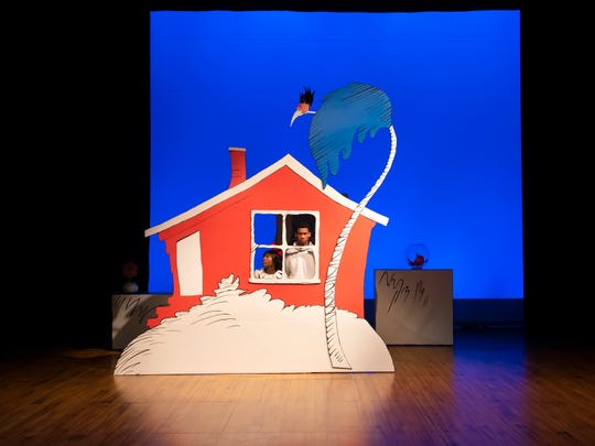 Sania Hyatt and George Lamar in a scene from Alabama Shakespeare Festival's presentation of Dr. Seuss's The Cat in the Hat, which runs Saturday from January 11–25, 2020.